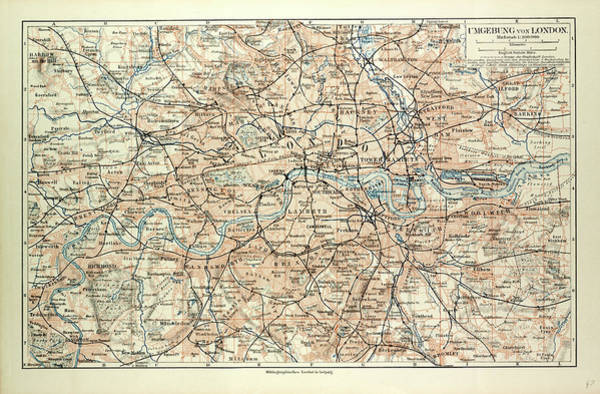 Old Style Drawing - Old Map Of London by English School