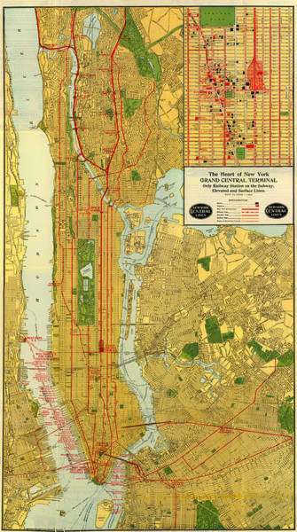 New York City Map Drawing - Old Map Of New York Central Railroad Manhattan Map 1918 by Mountain Dreams