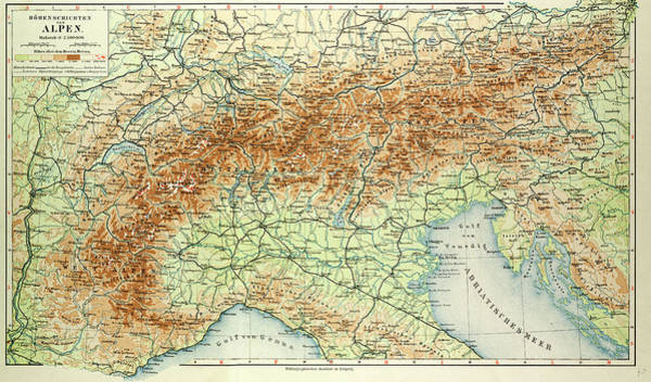 Old Style Drawing - Old Map Of The Alps by English School