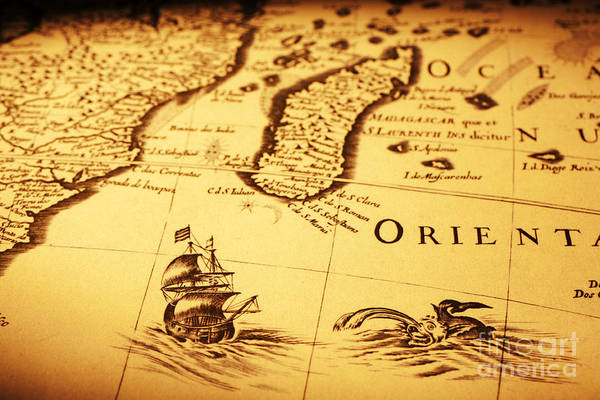 Cartography Photograph - Old Map Sea Monster Sailing Ship Africa Madagascar by Colin and Linda McKie