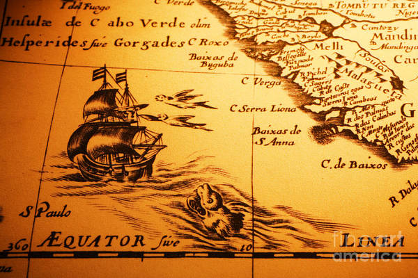 Cartography Photograph - Old Map Sea Monster Sailing Ship Equator Africa by Colin and Linda McKie