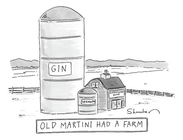 Wall Art - Drawing - Old Martini Had A Farm by Danny Shanahan