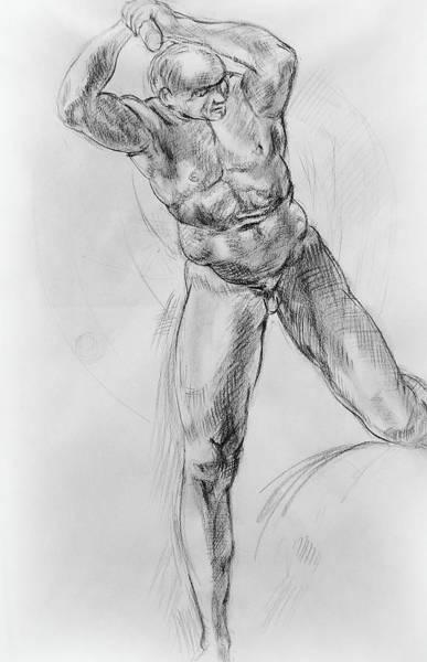 Wall Art - Drawing - Old Masters Study Nude Man By Annibale Carracci by Irina Sztukowski