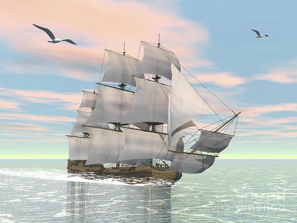 Schooner Digital Art - Old Merchant Ship Sailing In The Ocean by Elena Duvernay