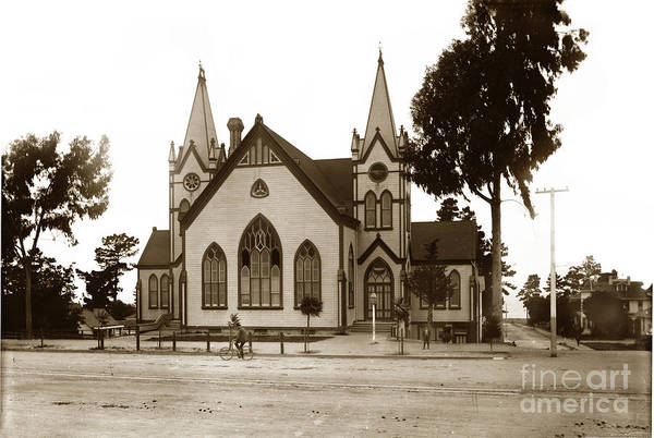 Photograph - Old Methodist Church On Lighthouse Avenue. Pacific Grove Circa 1890 by California Views Archives Mr Pat Hathaway Archives