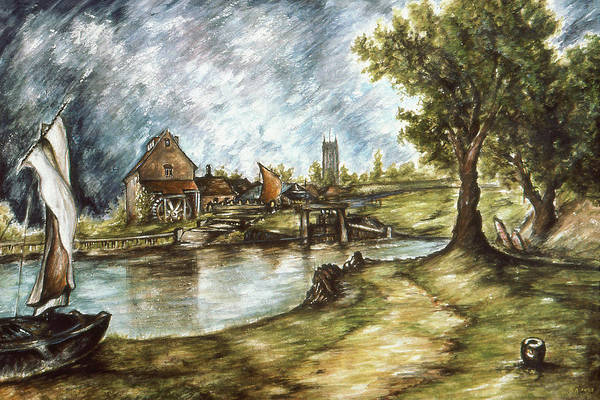 Drawing - Old Mill By The Water - Impressionistic Landscape by Peter Potter
