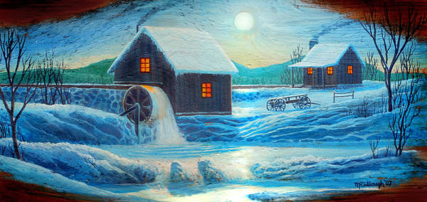 Painting - Old Mill In The Winter Moonlight by Duane McCullough