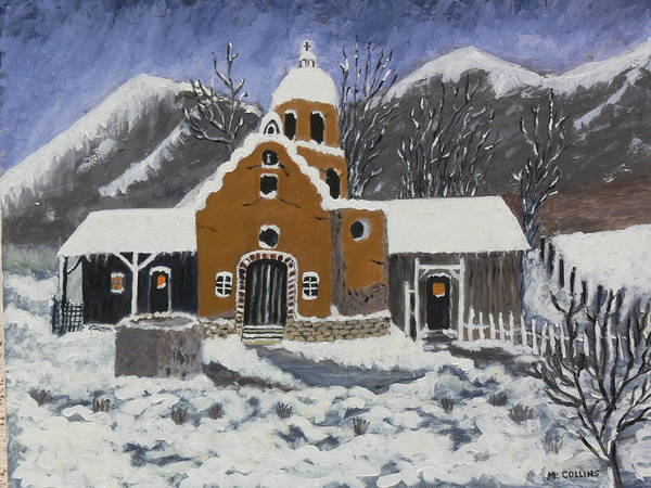 Old Mission In Winter Painting By Mary M Collins