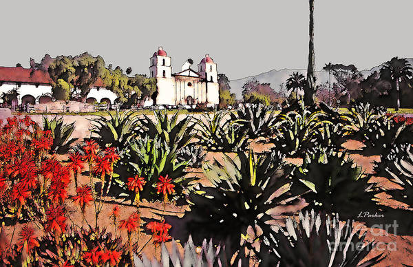 Mission Santa Barbara Photograph - Old Mission - Santa Barbara  by Linda  Parker