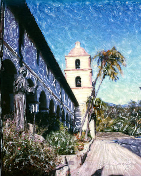 Mixed Media - Old Mission Santa Barbara Walkway by Glenn McNary