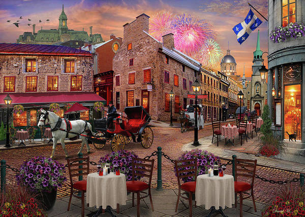 Fireworks Drawing - Old Montreal by MGL Meiklejohn Graphics Licensing