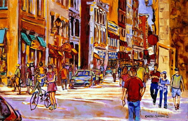 Painting - Old Montreal Paintings Bistros Boutiques Cafes And Souvenir Shops Rue St. Paul Montreal Street Scene by Carole Spandau