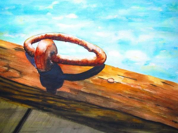 Painting - Old Mooring Ring On Wood Dock by Carlin Blahnik CarlinArtWatercolor