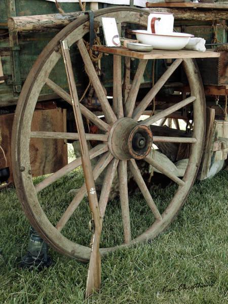 Wagon Wheel Photograph - Old Morning Scene by Kae Cheatham