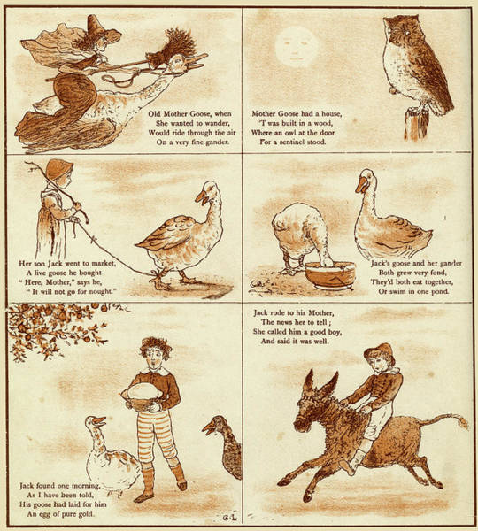 Mother Goose Drawing - Old Mother Goose, When She Wanted by Mary Evans Picture Library