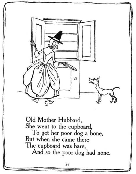 Mother Goose Drawing - Old Mother Hubbard, 1913 by Granger