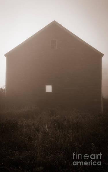 New England Barn Photograph - Old Nutt Barn In The Fog by Edward Fielding