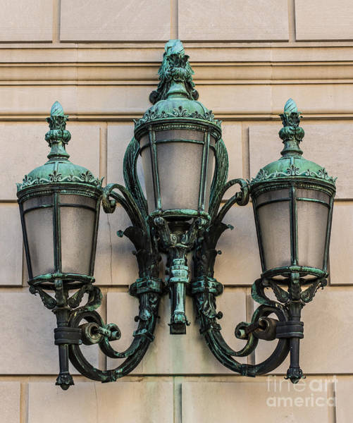 Federal Triangle Wall Art - Photograph - Old Ornate Copper Lamp - Washington Dc by Gary Whitton