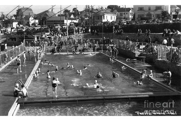 Photograph - Old Pacific Grove  Swimming  Pool At Lovers Point Circa 1948 by California Views Archives Mr Pat Hathaway Archives
