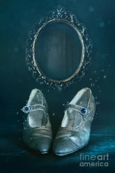 Photograph - Old Pair Of Shoes With Mirror In Background by Sandra Cunningham