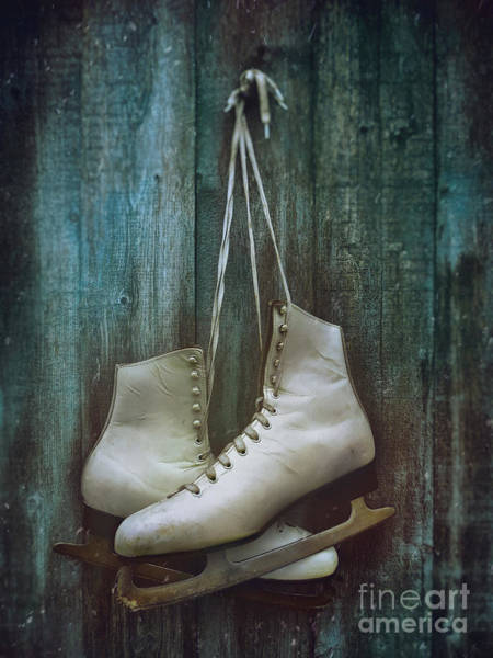 Photograph - Old Pair Of Woman's Skates Hung On Barn Door             by Sandra Cunningham