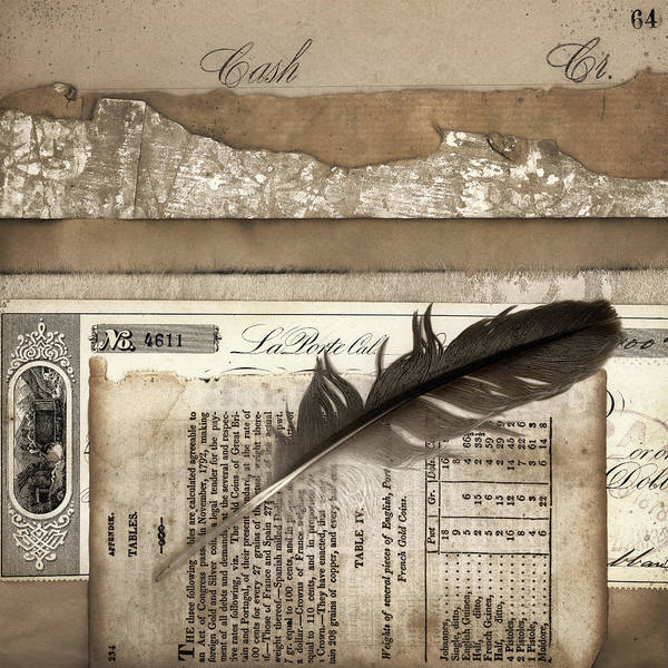 Finance Photograph - Old Papers And A Feather by Carol Leigh