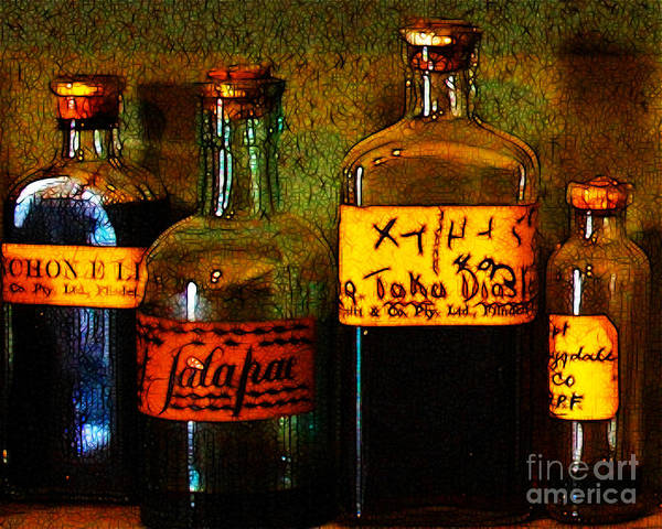 Photograph - Old Pharmacy Bottles - 20130118 V1b by Wingsdomain Art and Photography