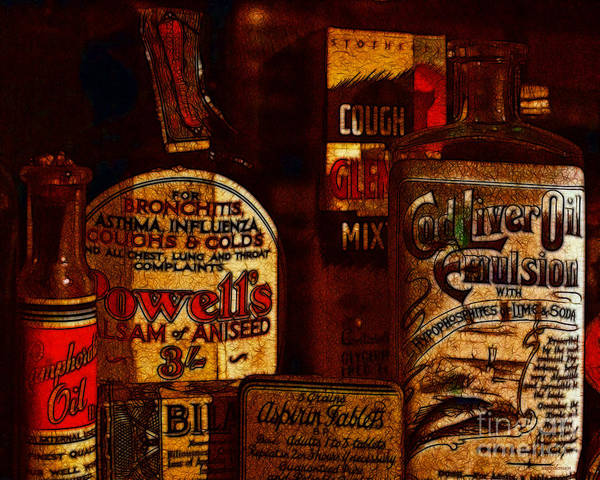 Photograph - Old Pharmacy Bottles - 20130118 V2b by Wingsdomain Art and Photography