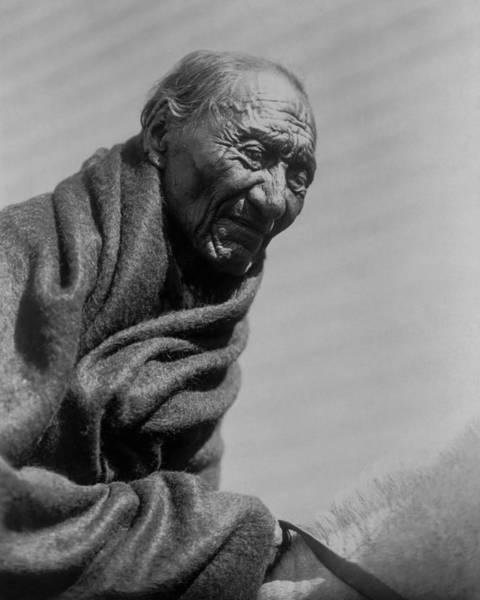 Indigenous Wall Art - Photograph - Old Piegan Man Circa 1910 by Aged Pixel