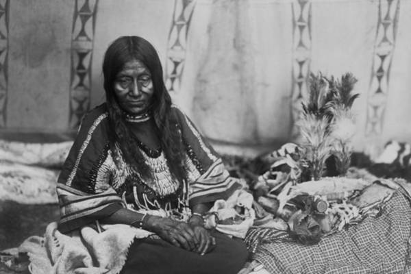 Indigenous Wall Art - Photograph - Old Piegan Woman Circa 1910 by Aged Pixel