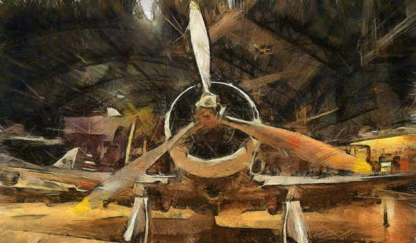 Wall Art - Painting - Old Plane In The Hangar by Dan Sproul