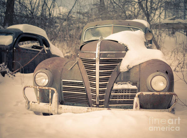 Yesteryear Photograph - Old Plymouth Classic Car In The Snow by Edward Fielding