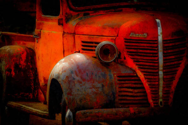 Old Truck Digital Art - Old Plymouth Red by Ernie Echols