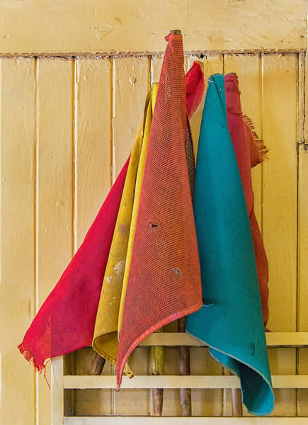 Photograph - Old Railroad Signal Flags In Caboose by Gary Slawsky