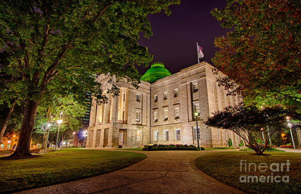Downtown Raleigh Wall Art - Photograph - Old Raleigh Capital At Night I by Dan Carmichael