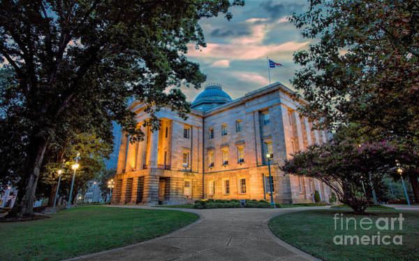 Downtown Raleigh Wall Art - Photograph - Old Raleigh Capital At Sunset I by Dan Carmichael