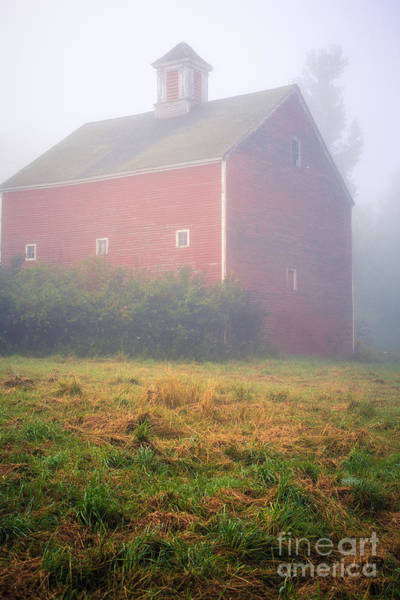 Photograph - Old Red Barn In Fog by Edward Fielding