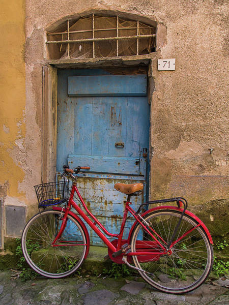 Bicycle Photograph - Old Red Bicycle Leaning Against A by Carl Larson Photography