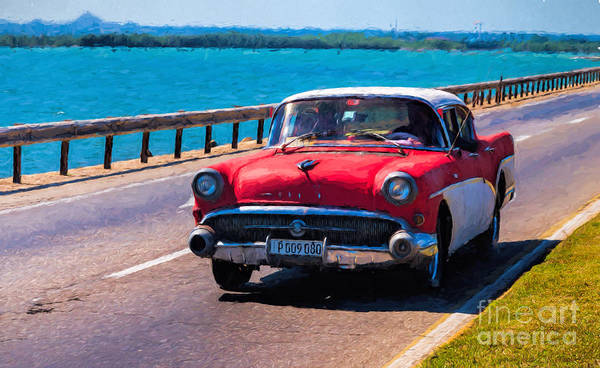 Photograph - Old Red Buick - Painterly by Les Palenik