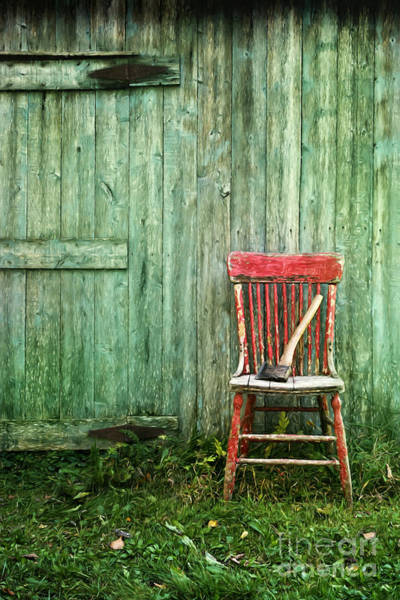 Wall Art - Photograph - Old Red Chair Near A Barn/digital Oil Painting by Sandra Cunningham