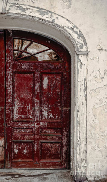 Weathering Photograph - Old Red Door by Edward Fielding