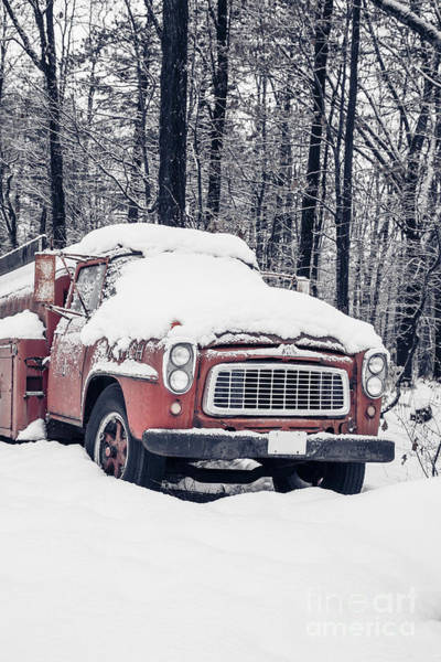 Fire Truck Photograph - Old Red Fire Truck Covered With Snow by Edward Fielding
