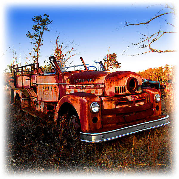 Digital Art - Old Red Fire Truck by K Scott Teeters