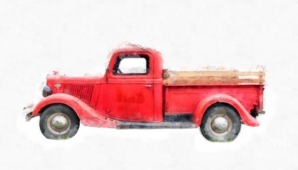 Green Car Photograph - Old Red Ford Pickup by Edward Fielding