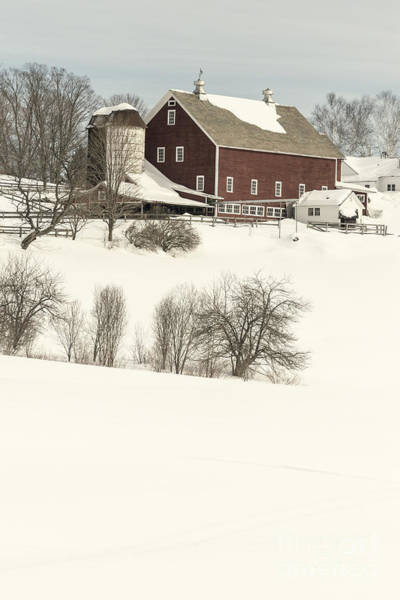 New England Barn Photograph - Old Red New England Barn In Winter by Edward Fielding