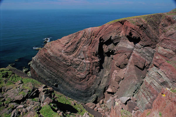 Headlands Photograph - Old Red Sandstone Cliffs by Duncan Shaw/science Photo Library