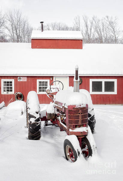 Big Red Photograph - Old Red Tractor In Front Of Classic Sugar Shack by Edward Fielding