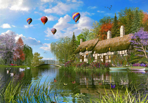 Wall Art - Painting - Old River Cottages by MGL Meiklejohn Graphics Licensing