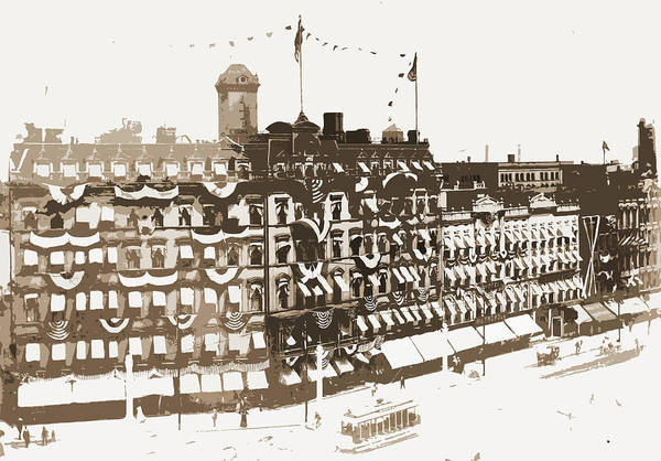 Michigan Drawing - Old Russell House, Detroit, Hotels, Festive Decorations by Litz Collection