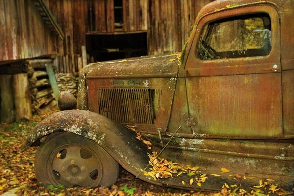 Photograph - Old Rusted Truck In Autumn by Dan Sproul